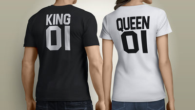 King & Queen rugnummers tshirts