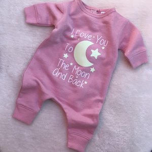 Love you to the moon and back baby playsuit